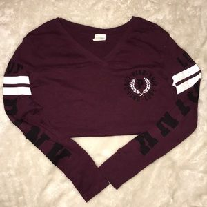 VS PINK Maroon Black & White LOVE PINK Long Sleeve
